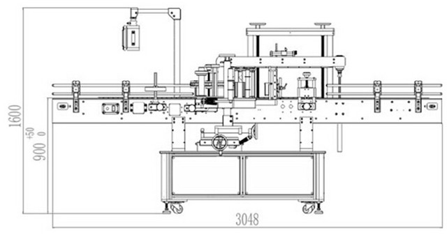 The size of the automatic front and back labeling machine