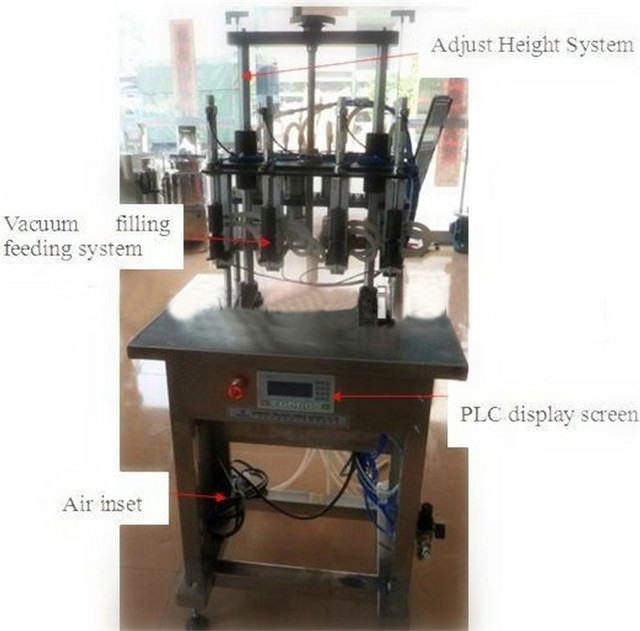 Illustration of 4 heads semi automatic filling machine for perfume