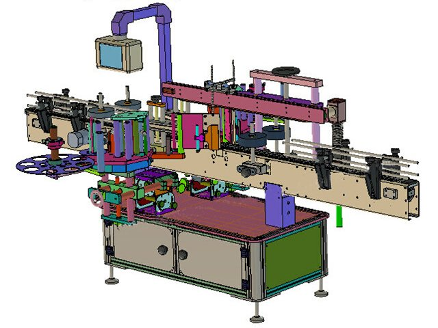 The 3D drawings of automatic front and back labeling machine