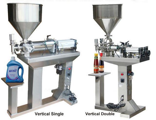 whole view of desktop semi automatic liquid filling machine