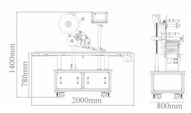 Dimensions of flat surface top labelling machines