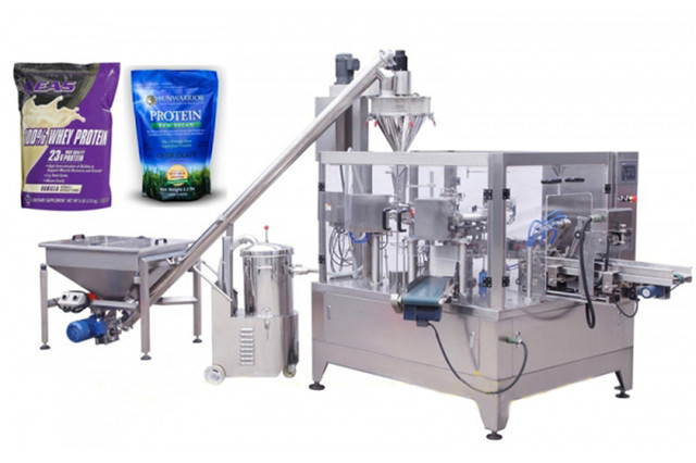 The whole view of coffee powder milk granules doypack packaging machinery