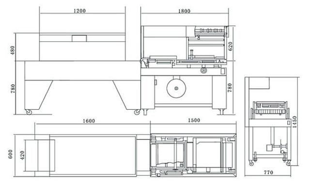 Dimensions of PE, PVC, POF film L-bar heat sealing shrink packaging machine