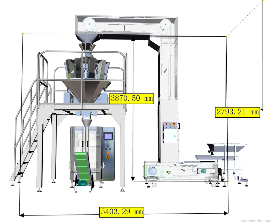 Demension of the automatic vertical doypack packing machine