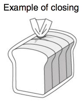 Puts breads, candies, and other products in bags and seals their opening with metallic/vinyl ties, tapes, etc.