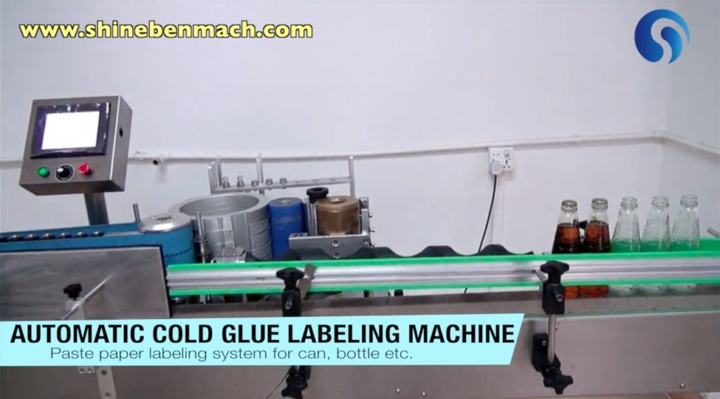 Automatic cold glue labeling machine for paper cans