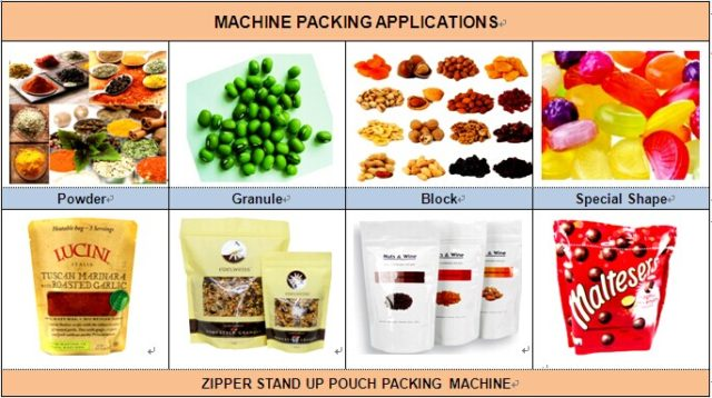 Zipper stand up pouch packing machine